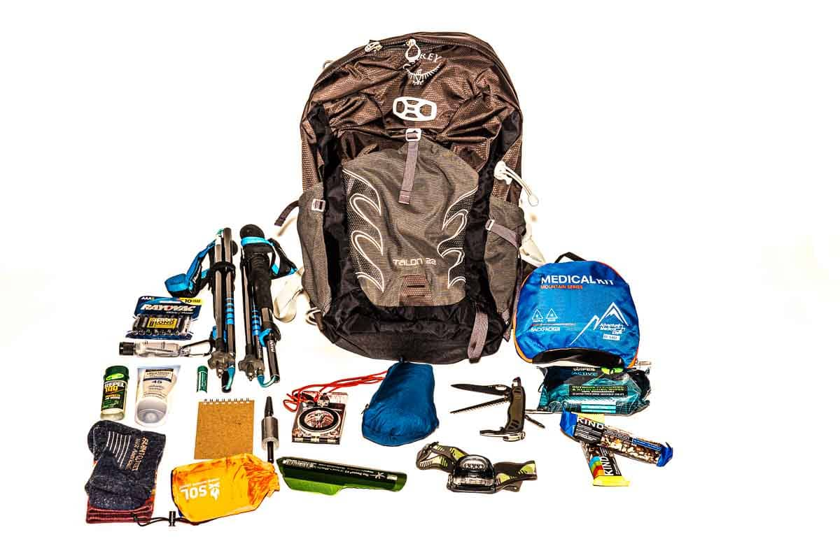hiking day pack contents
