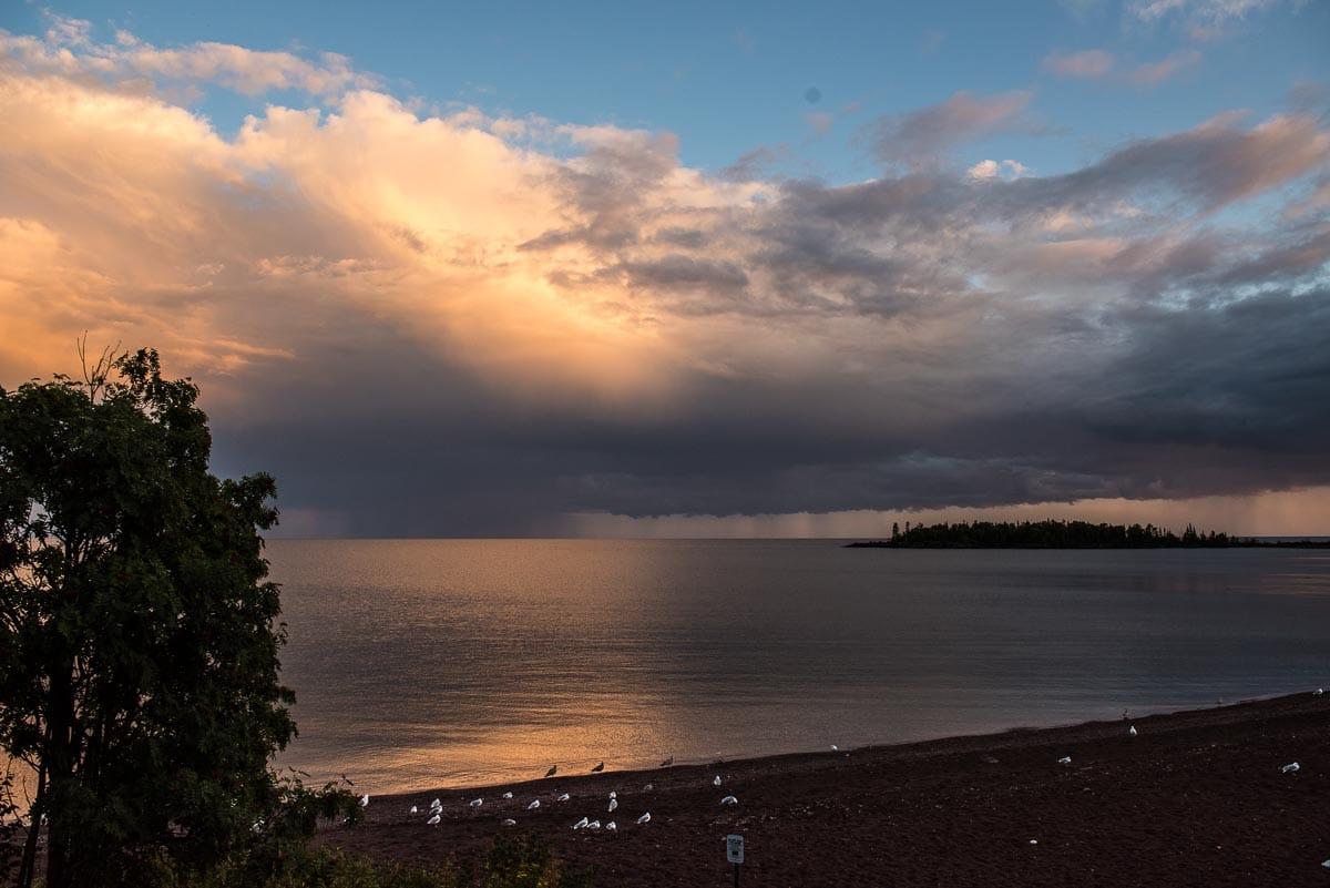 minnesota grand marais approaching rain lake superior
